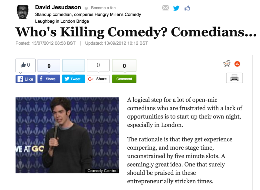 Comedians Are Killing Comedy