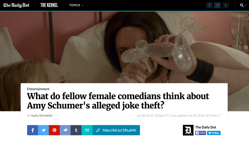 Fellow Female Comedians on Amy Schumer's Alleged Joke Theft