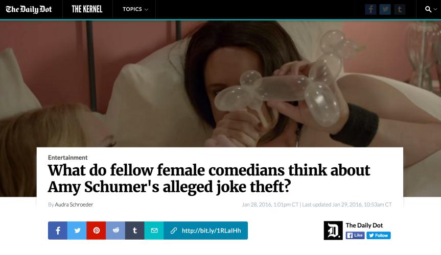 Fellow Female Comedians on Amy Schumer's Alleged JokeTheft
