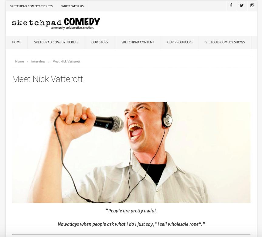"""""""Meet Nick Vatterott"""" – SketchpadComedy"""